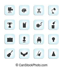 arti, set, vettore, nero, multa, icona