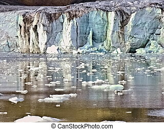 Artic Glacier in Svalbard melting into water