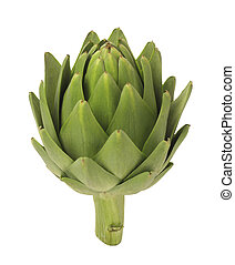 A photo of a single artichoke isolated on a white background