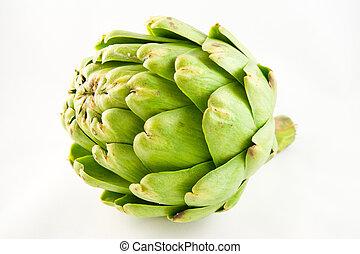 Green artichoke on a white background