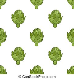 Artichoke seamless pattern. Green vegetable. Cartoon flat style. Vector illustration