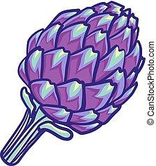 Artichoke violet flower head isolated on white. Decorative image of purple Roman artichoke. Artichoke flower.