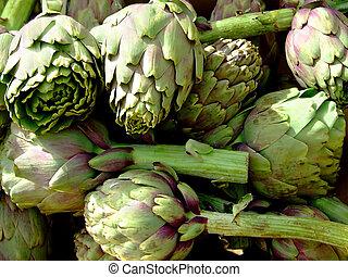 Artichokes - Bunch of artichokes in a basket on market