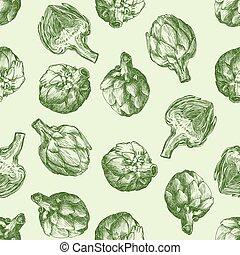 artichokes., frais, harvesting., seamless, fond