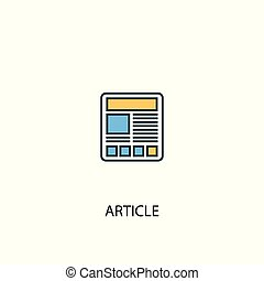 article concept 2 colored line icon. Simple yellow and blue element illustration. article concept outline symbol