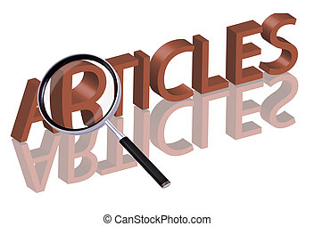 article search - Magnifying glass enlarging part of red 3D...