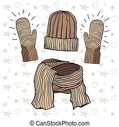 articles, écharpe, illustration, hiver, brun, chapeau, range., tricoté, vecteur, mitaines, café, set: