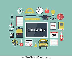 articles, education, ensemble, plat, icônes