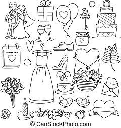 articles, engagement, main, dessiné, cérémonie, mariés, mariage, clipart, griffonnage