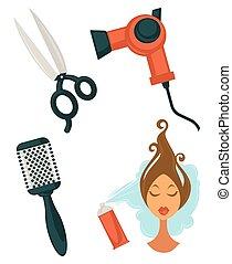 articles, ensemble, coiffure