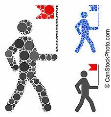 articles, icône, guide, spheric, homme, mosaïque, drapeau