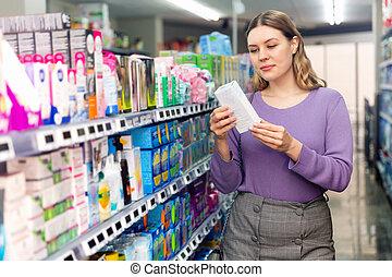 articles, personnel, client, femme, achat, portrait, hygiène, supermarché