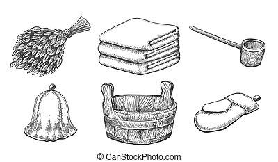 articles, sauna, vendange, croquis
