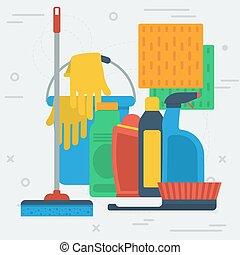 articles, seau, nettoyage