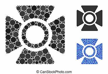 articles, spheric, mosaïque, projecteur, icône