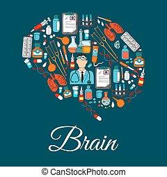 articles, symbole, cerveau, conçu, outils, monde médical