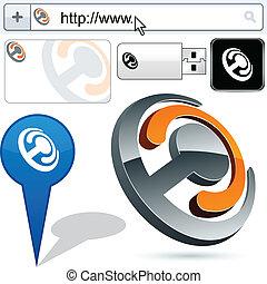 articolazione, affari, logotipo, 3d, design.