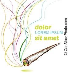 articolazione, fumo, fondo, erbaccia