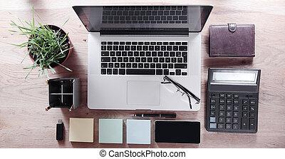 articoli, cima, lavoro, vista., ufficio