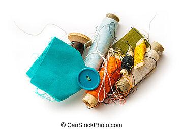articoli, cucito, bobbins, filo
