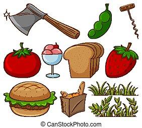 articoli, grande, differente, sfondo bianco, set, altro, cibo
