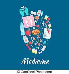 articoli, medicina cuore, vettore, manifesto