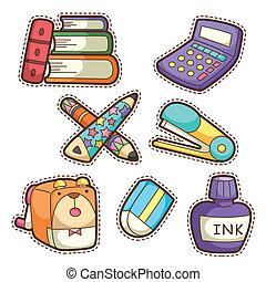 articoli, scuola, set, set., differente