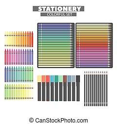 articoli, set, fine, multi-colored