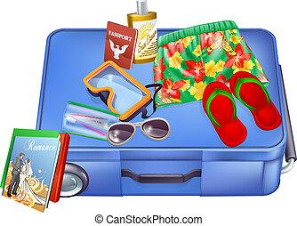 articoli, vacanza, valigia