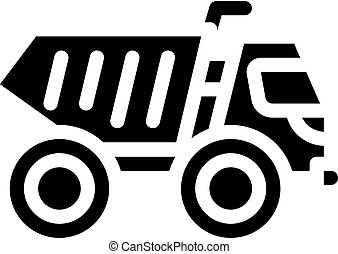 articulated dumper glyph icon vector isolated illustration