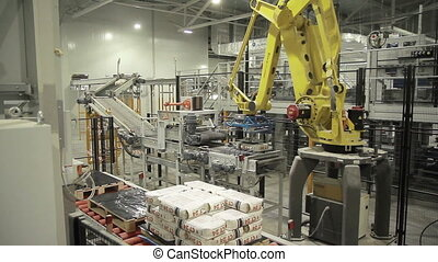 Articulated robotic arm at packaging line in factory