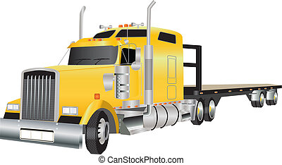 Articulated Truck - A Yellow American Truck hauling a Flat...