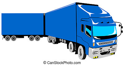 Articulated truck - Illustration on transport