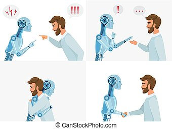 Artific intelligence interaction concept. Human and robot. Human and modern robot communication. Concept business technology vector illustration.