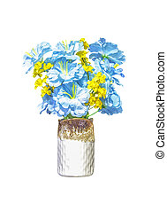 Artifical blue and yellow flowers in ceramic vase