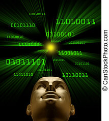 Artifical intelligence as symbolized by green binary code flying through a vortex toward an android head
