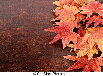 artificial, arce, leafs, encima, viejo, madera, plano de...