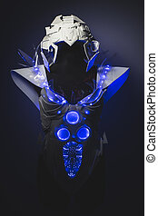 Artificial Blue LED lights armor made with plastics and lightweight materials.