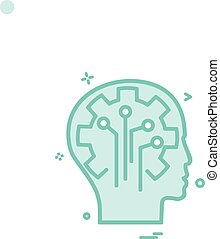 Artificial brain circuit intelligence icon vector design