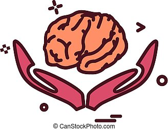 Artificial brain hands  intelligence icon vector design