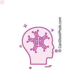 Artificial brain intelligence robo icon vector design