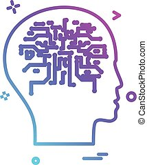 Artificial brain intelligence robot icon vector design