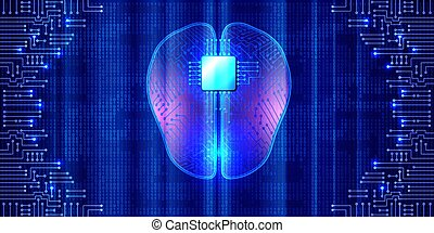 Artificial brain with microchip and electronic circuit against binary code background. Futuristic technology. Implants and artificial intelligence concept. Innovation in science.