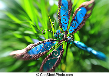 Artificial butterfly in a plant - Artificial decorative...