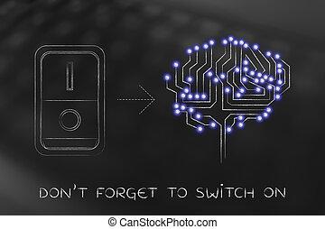 artificial, cérebro, com, interruptor, virado