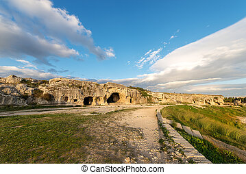 Artificial Caves - Ancient Amphitheater Syracuse Italy