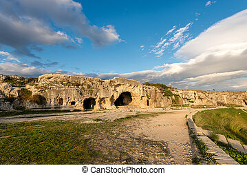 Artificial Caves - Ancient Amphitheater Syracuse Italy -...