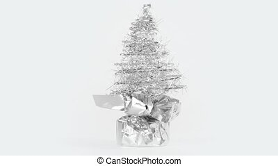 Artificial Christmas tree made of tinsel - Silver artificial...