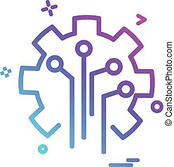 Artificial circuit  intelligence icon vector design