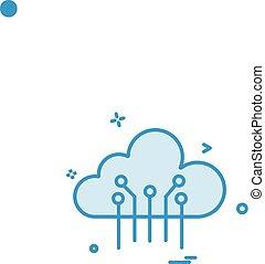 Artificial cloud intelligence icon vector design